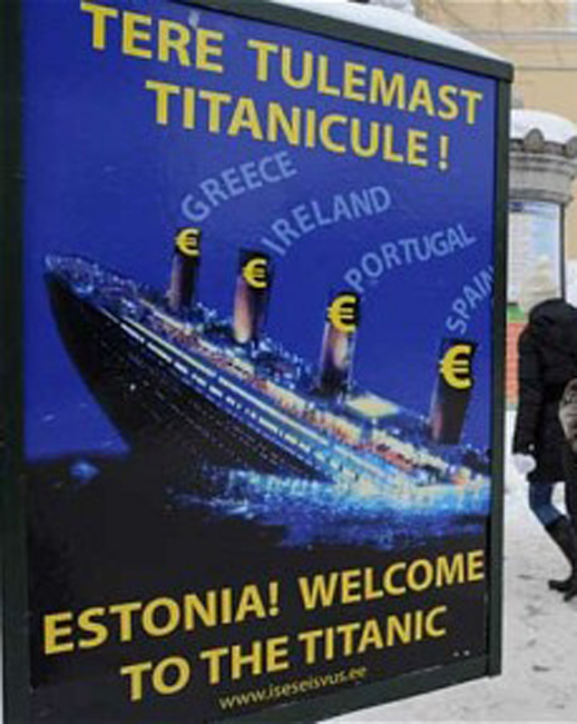 Anti-Euro-Plakat in Tallinn